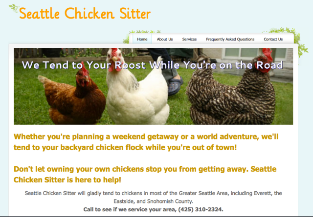 Seattle Chicken Sitter Webpage