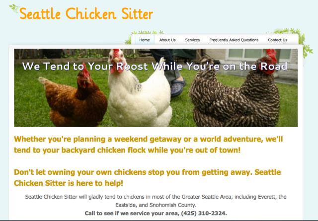 Seattle Chicken Sitter Webpage